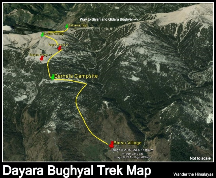 Dayara Bughyal trek map