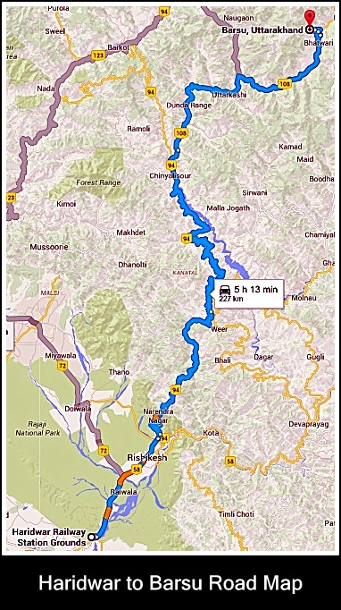 Haridwar-Barsu road map