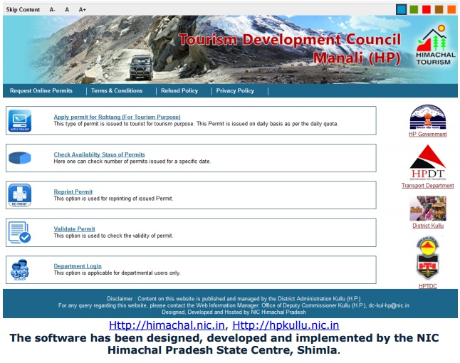Rohtang online permit
